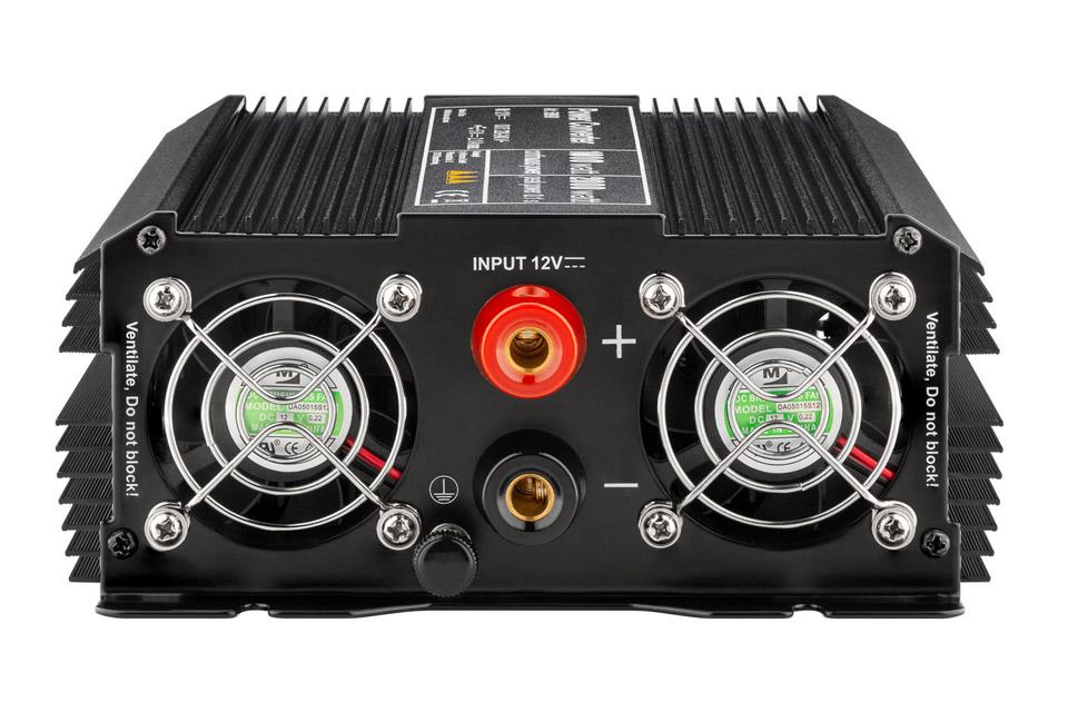 12V - 230V~ Power inverter, Schuko, 1000W - Back
