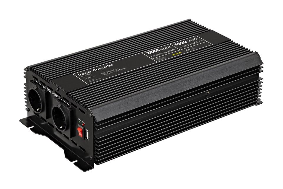 Goobay 24V - 230V~ Power inverter, Schuko + USB, 2000W