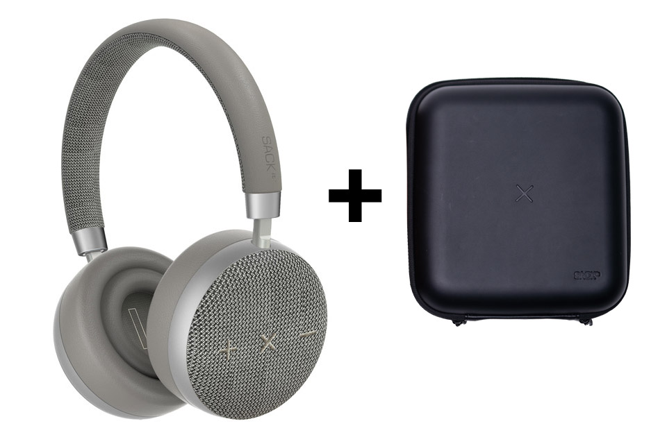SACKit TOUCHit headphones, silver incl. black cover