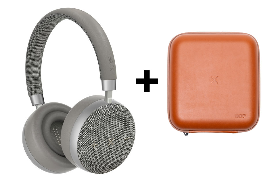 SACKit TOUCHit headphones, silver incl. brown cover