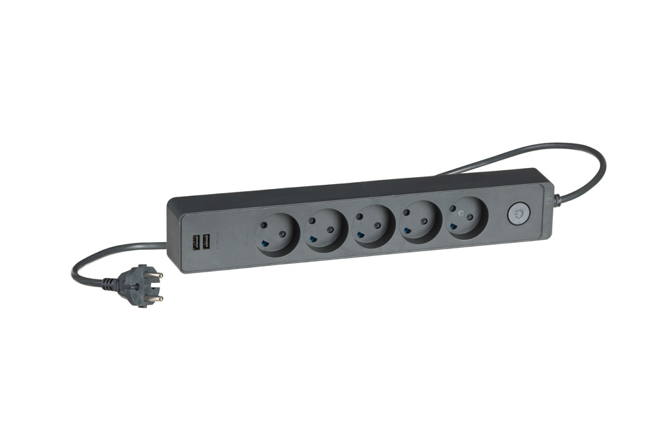 LK Design 230V 5-way power strip with 2 USB ports and without ground - Black