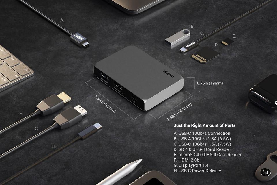 CalDigit USB-C SOHO dock - Ports and size