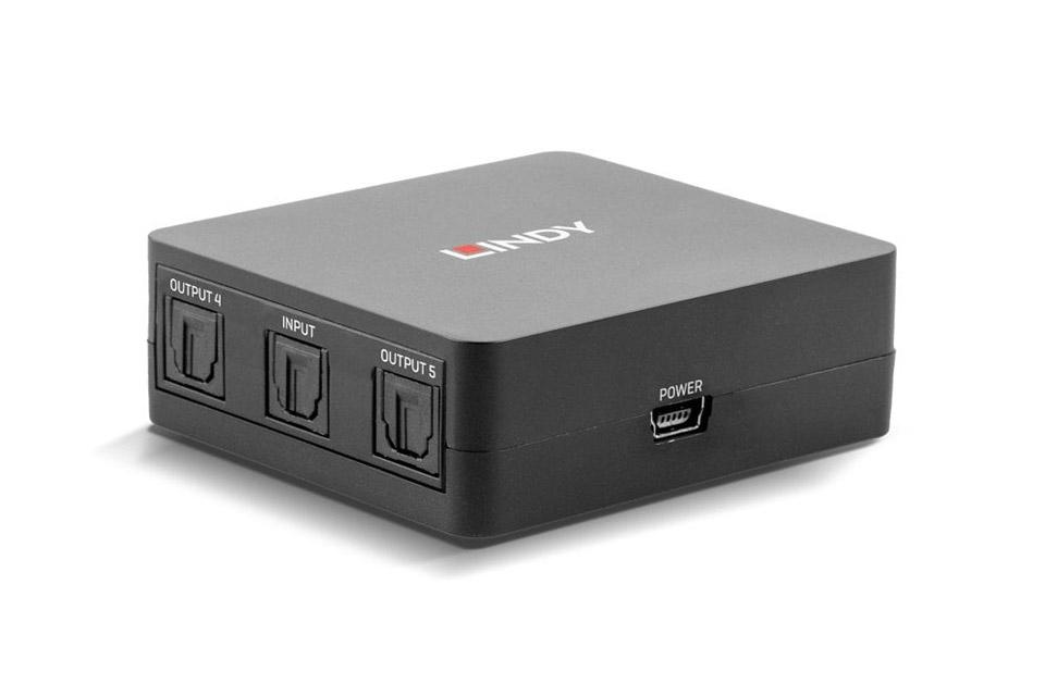 Lindy SPDIF 5-way Toslink digital optical audio splitter - Back