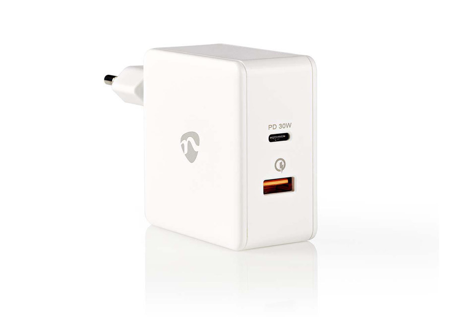 Nedis 2-way USB-C/USB-A charger (3A/30W) - White