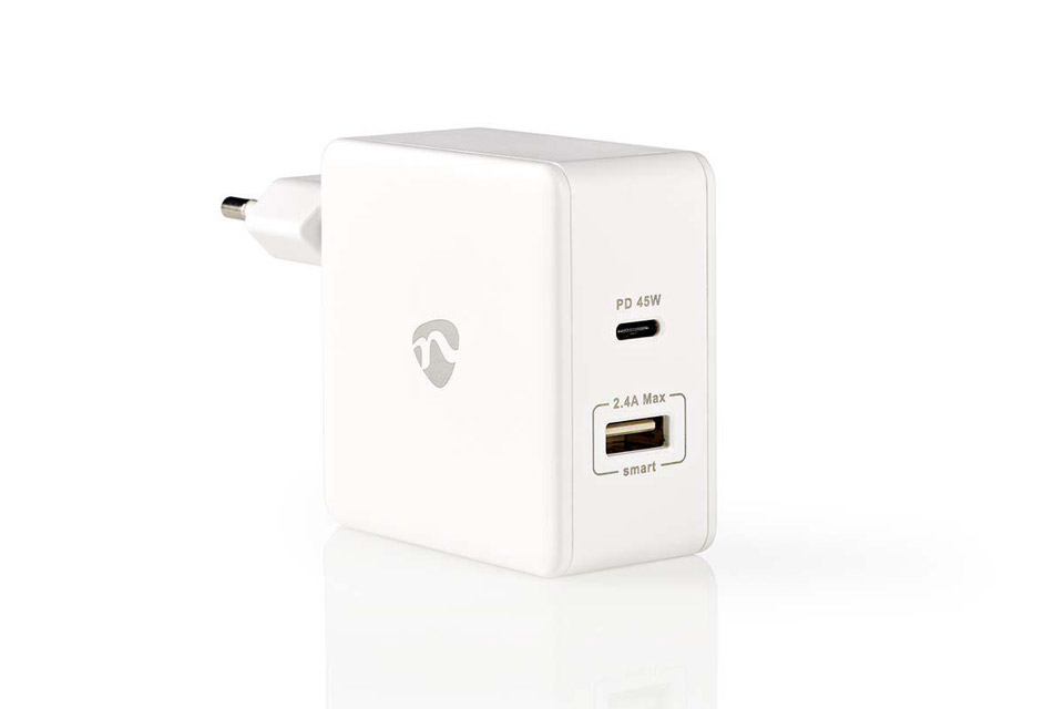 Nedis 2-way USB-C/USB-A charger (2,4A/45W) - White