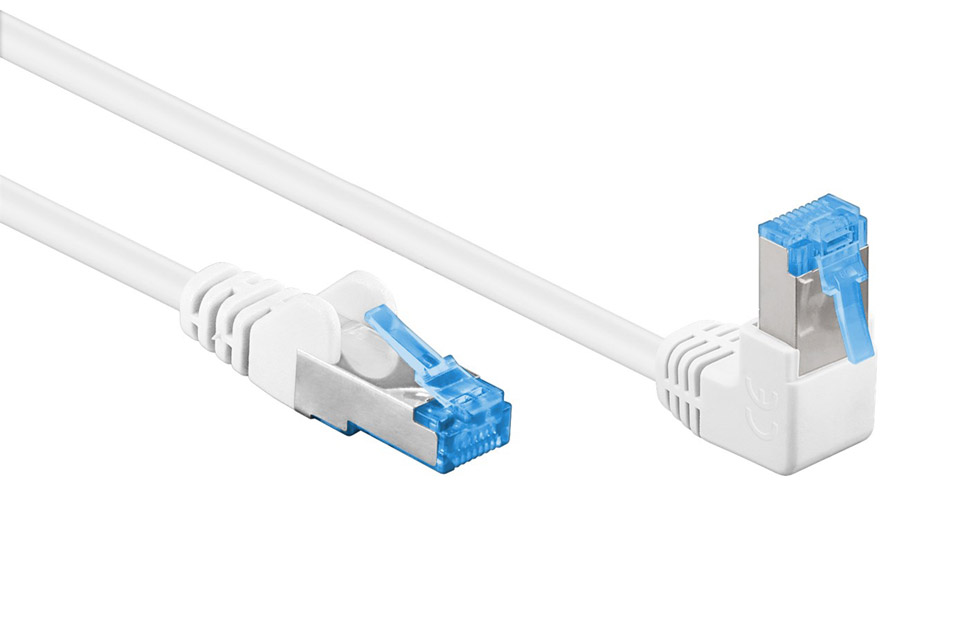 Goobay CAT6a S/FTP network cable, RJ45 angled-straight - White