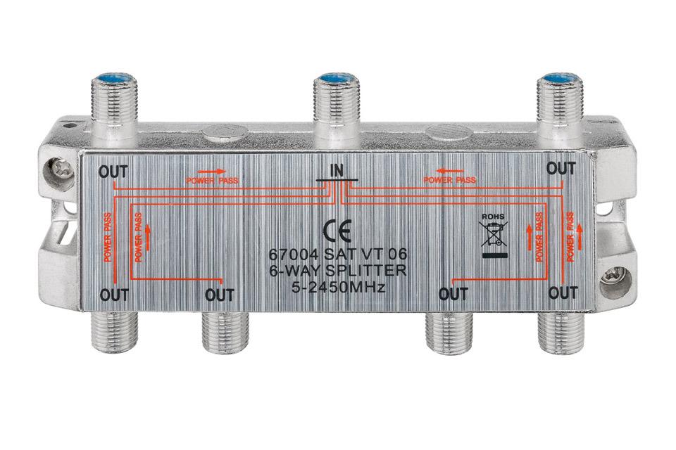 Goobay 6-way antenna splitter, 5-2450 MHz, 14 dB loss @1750 MHz