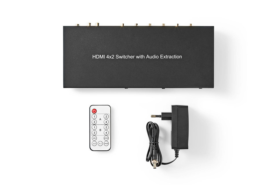 Nedis 4-way HDMI 2.0 matrix switch (4 in - 2 out) -  Content