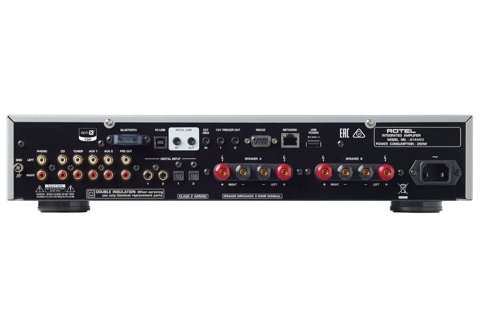 Rotel A14 MKII integrated amplifier, back