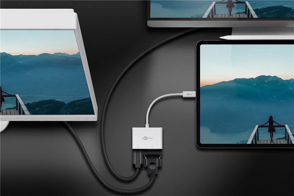 Goobay USB-C multiport adaptor (USB-C male to VGA and HDMI female)