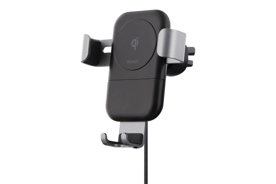 Deltaco car charger with Qi (10W)