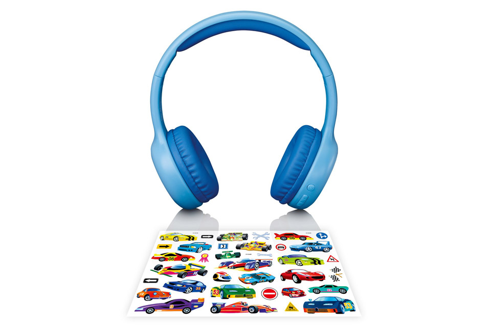 Lenco HPB-110 foldable kids Bluetooth headphone - Blue with stickers