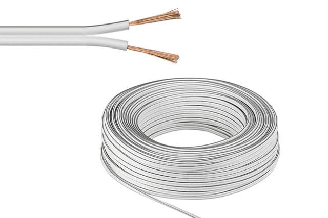 Opdateret Hvid højttalerkabel (2x 0,75 mm² CU) SX29
