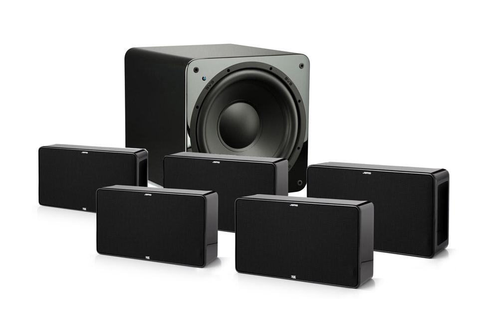 Lækkert D500 højttalersystem fra Jamo som enten 5.1 eller 7.1 surround. Med eller uden kraftig 12