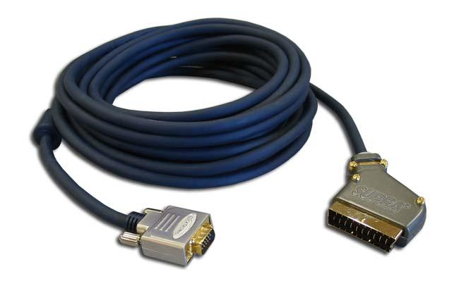 Scart til VGA kabel kan man udnytte VGA indgangen på bla. Sanyo projektorer for tilslutning af f.eks. en DVD afspiller eller digtalboks med Scart.
