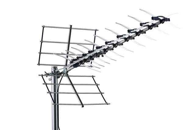 Kvalitets element antenne fra Danske Triax med stor flektor til skærmning, f.eks. til placering på loft eller eller blot med langt til sendemasten.