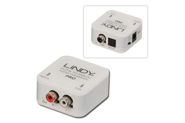 Højkvalitets digital til anlog lyd konverter fra Lindy med understøttelse for op til 192 kHz bitrate.