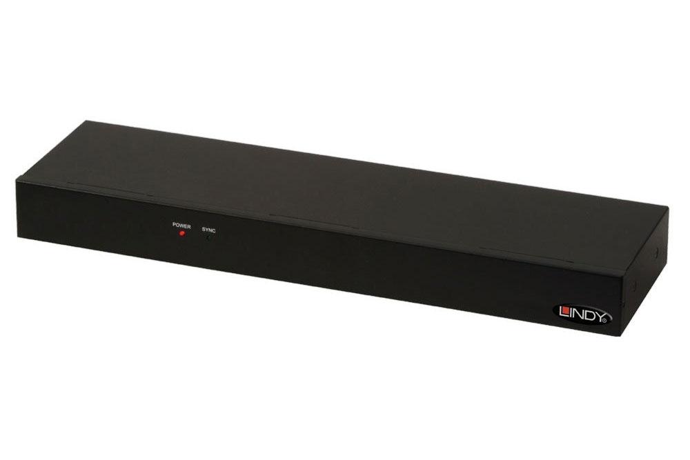 Lindy 16 ports HDMI splitter, som understøtter en opløsning op til 4K.