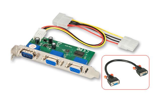 Intern VGA splitter der gør det muligt at koble op til to skærme til samme computer. Et kort VGA (han-hun) kabel medfølger for hurtig installation.