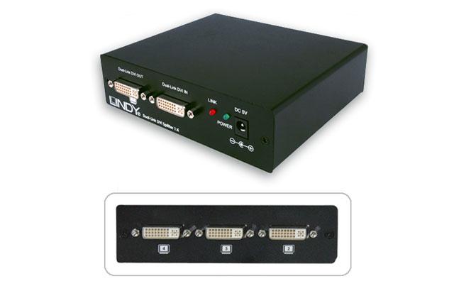 4-vejs Dual Link DVI-D splitter der gør det muligt at sende samme billed ud på 4 skærme samtidigt i en opløsning på op til 2560 x 1600.