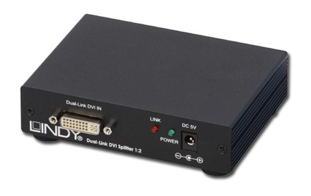 2-vejs Dual Link DVI-D splitter der gør det muligt at sende samme billed ud på 2 skærme samtidigt i en opløsning på op til 2560 x 1600.
