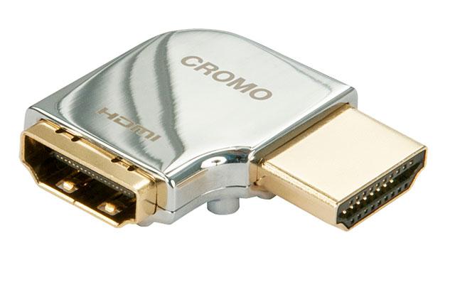 Smart horisontal HDMI vinkel adapter fra Lindy udført i krom. Denne 90 graders adapter går kun ca. 2,3 cm. ud fra apparatet når den er monteret.