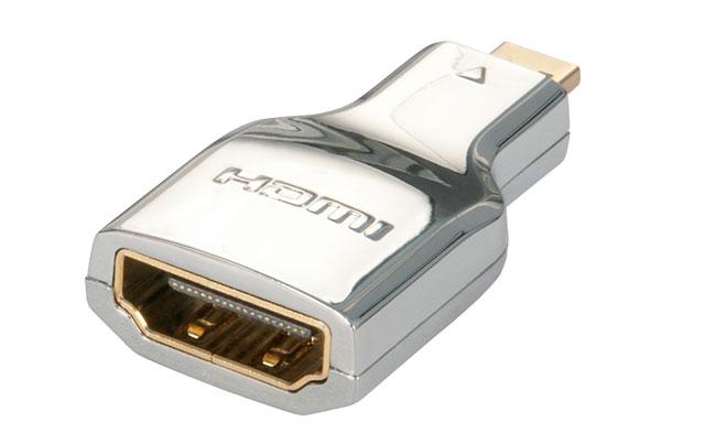 Kvalitets HDMI til micro HDMI adapter fra Lindy udført i et lækkert krom design.