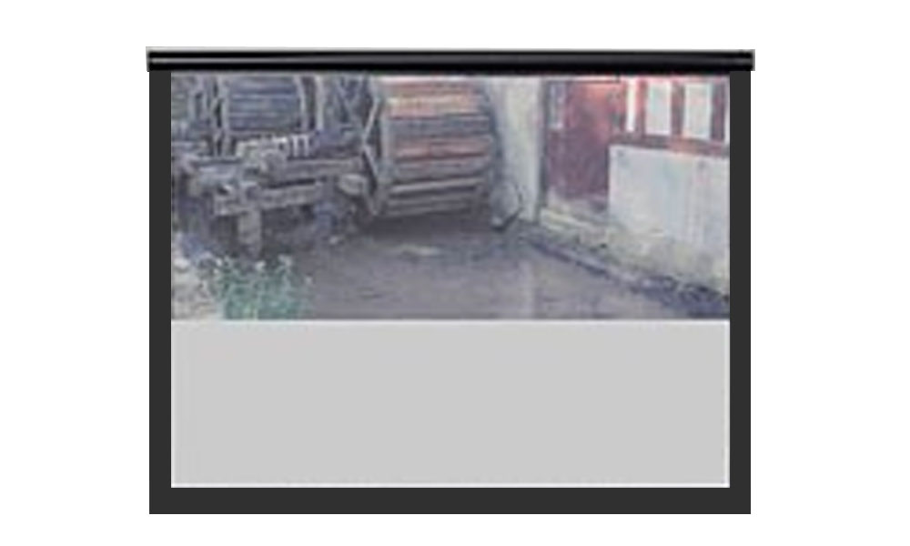 Fastramme lærrede med motoriseret cover fra Lissau i 16:10 widescreen format, med mat hvid flex dug på gain 1.0.